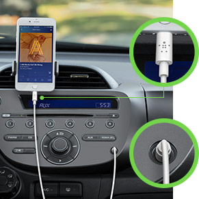 Cable that connects your iPhone to 3.5 mm speakers