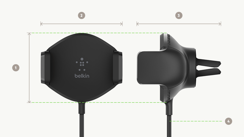 BOOST↑UP™ Wireless Charging Vent Mount dimensions diagram