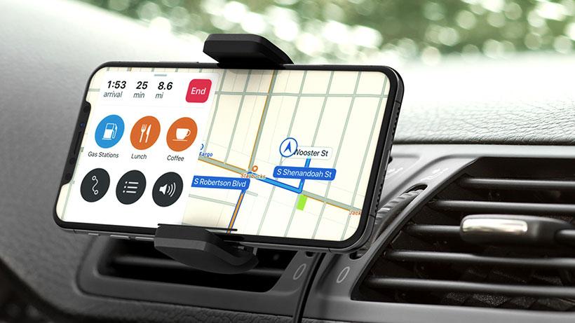 Smartphone in landscape mode with navigation app open