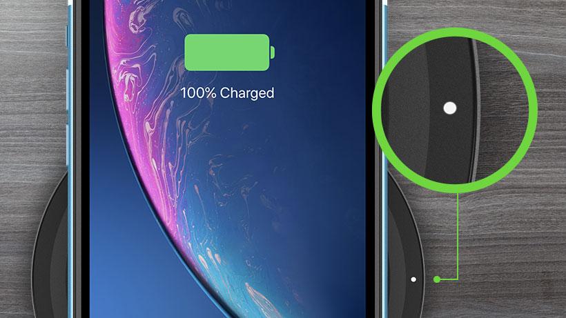 Charging status indicator closeup