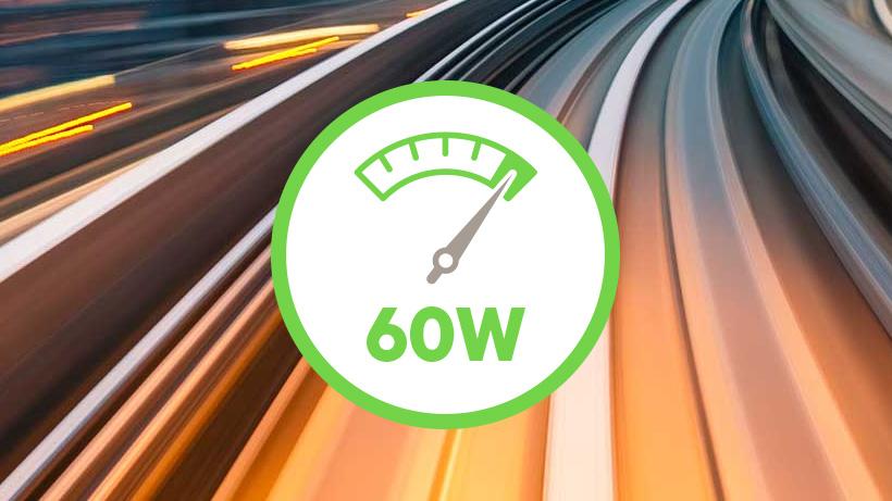 Illustration of speedometer at 60W power