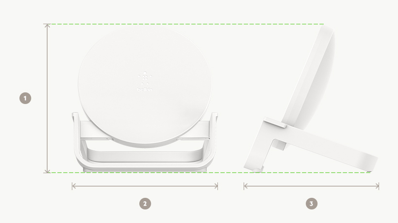 BOOST↑CHARGE Wireless Charging Stand dimensions diagram