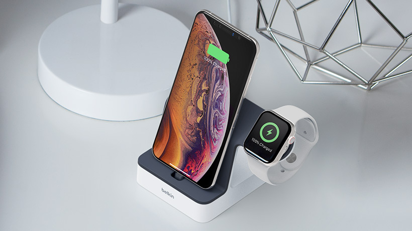 Overhead view of the PowerHouse Charge Dock on a nightstand