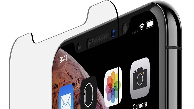 Top of iPhone XS and TemperedGlass closeup