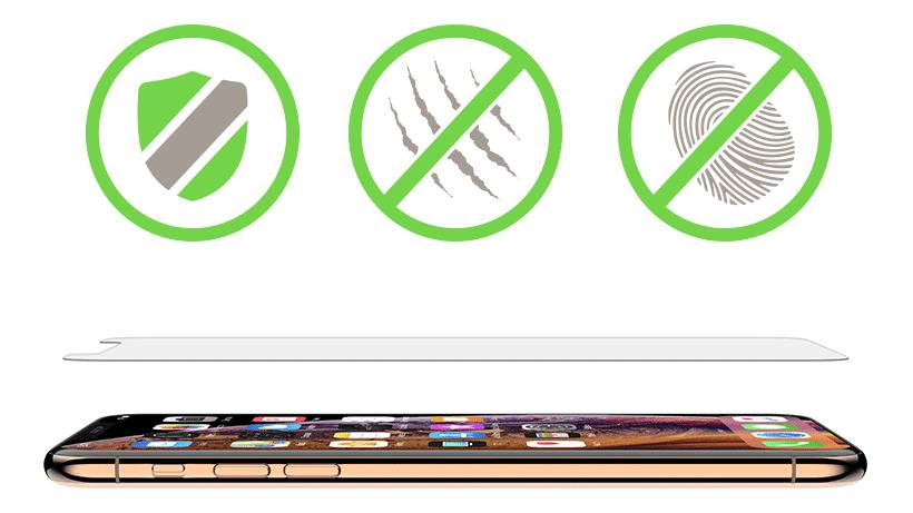 Shield icon, scratc resistance icon, and anti-fingerprint icon