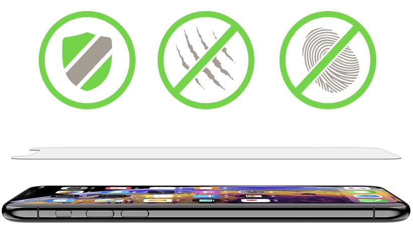 Shield icon, scratch resistance icon, and anti-fingerprint icon