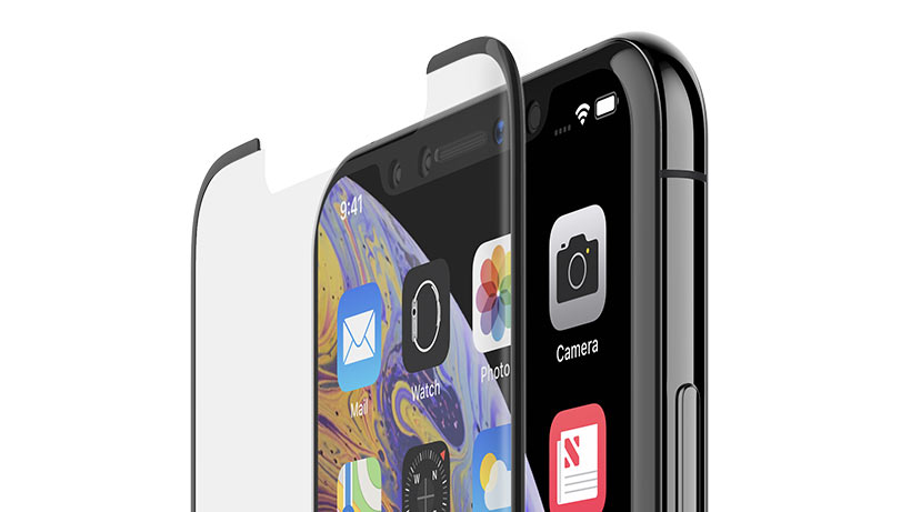 Close-up of the top of an iPhone and the TemperedCurve glass
