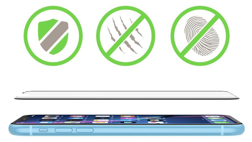 Sheild icon, Scratch-resistance icon, and Anti-fingerprint icon