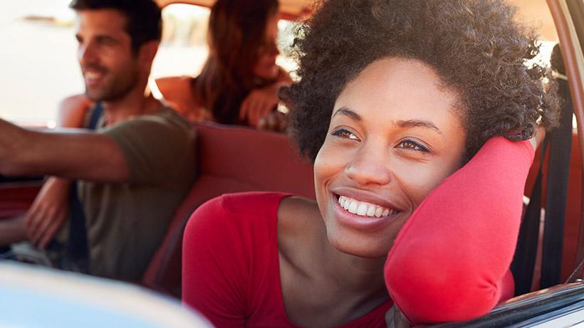 Friends in a car, on a roadtrip