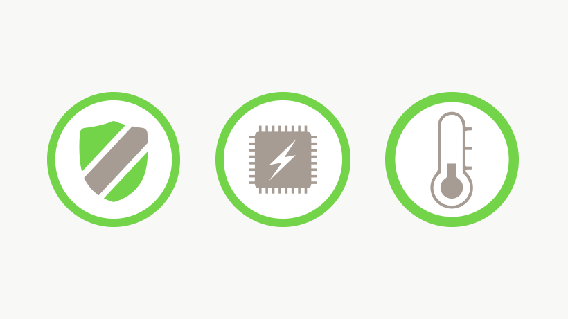 Security, voltage and temperature safety icons